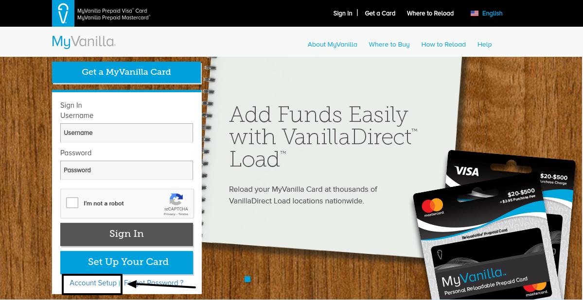 MyVanilla Reloadable Prepaid Card Account Setup