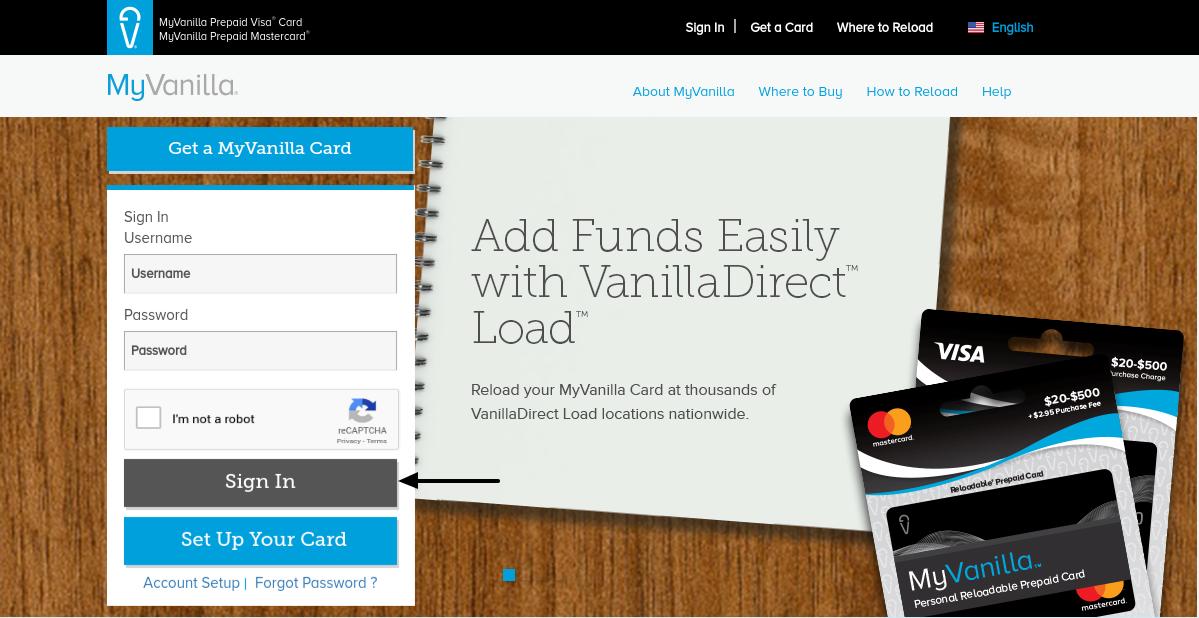 MyVanilla Reloadable Prepaid Card Login