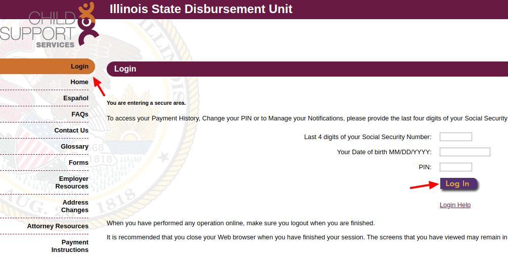 Illinois State Disbursement Unit Login