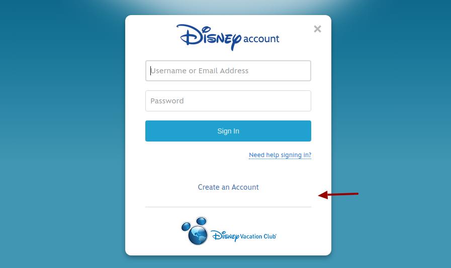 Disney Vacation Club Create Account