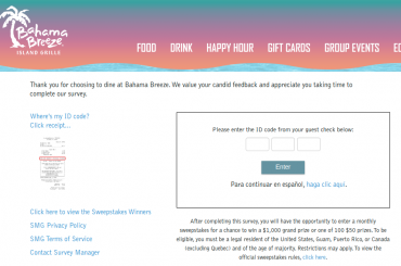Bahama Breeze Guest Satisfaction Survey