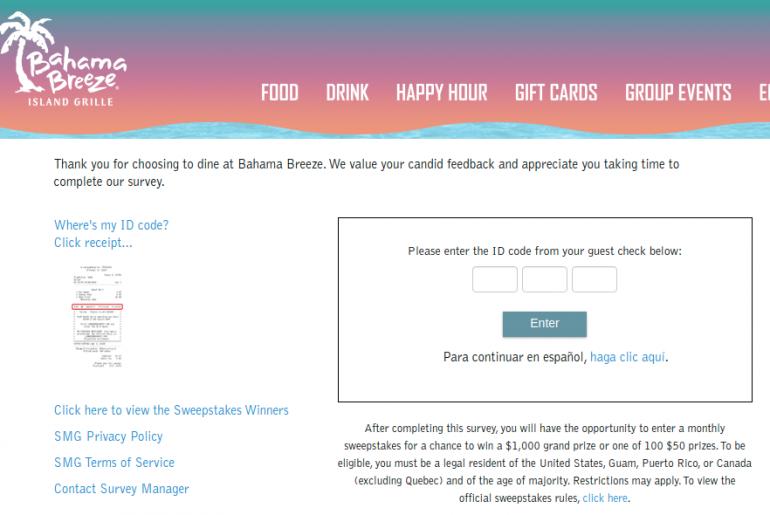 Bahama Breeze Guest Satisfaction Survey