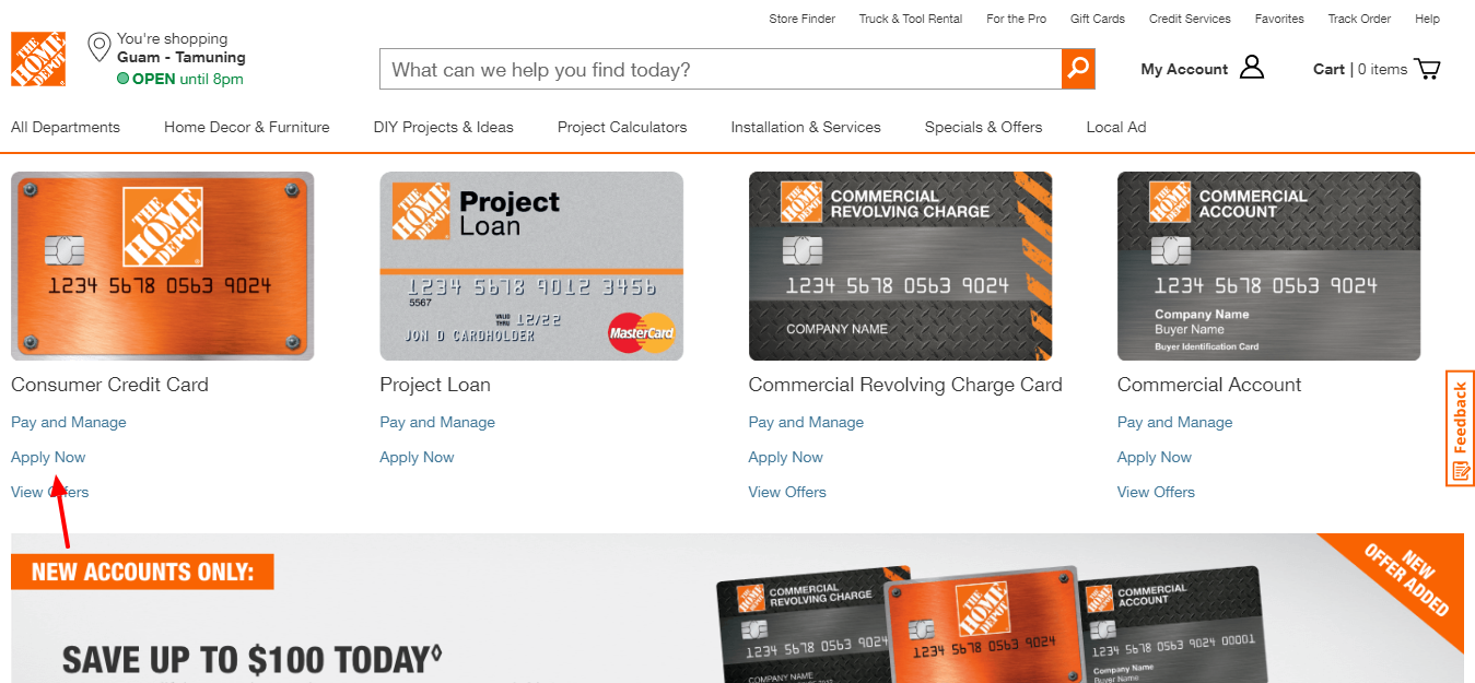 Home Depot commercial credit card Apply