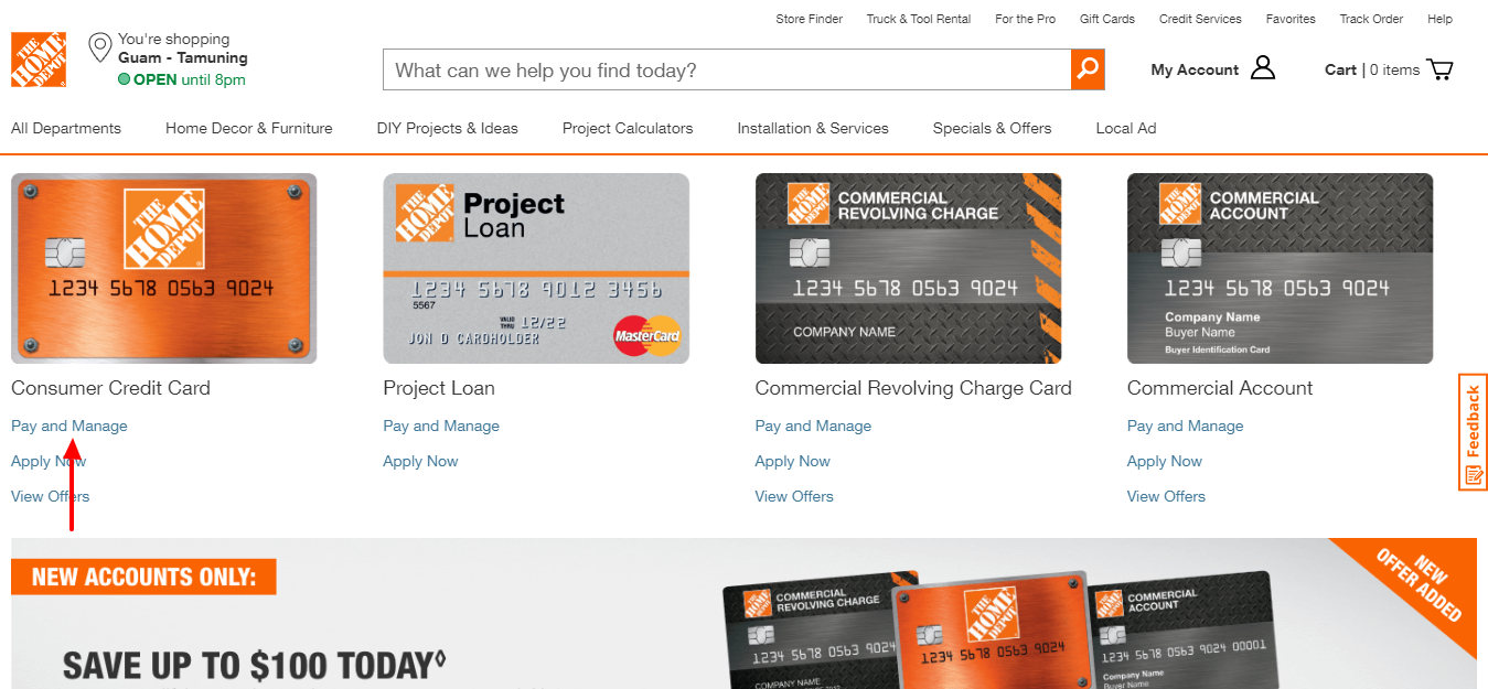 Home Depot commercial credit card Pay and Manage
