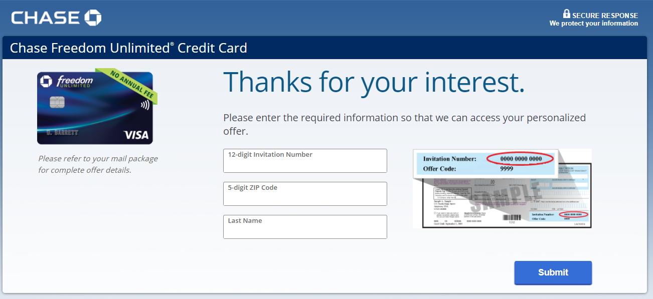 chase freedom credit card application