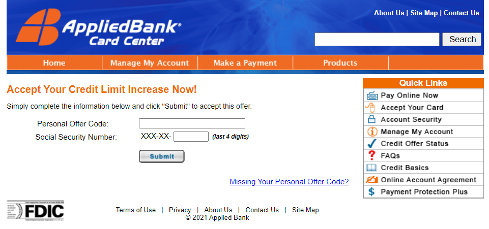applied bank credit limit increase